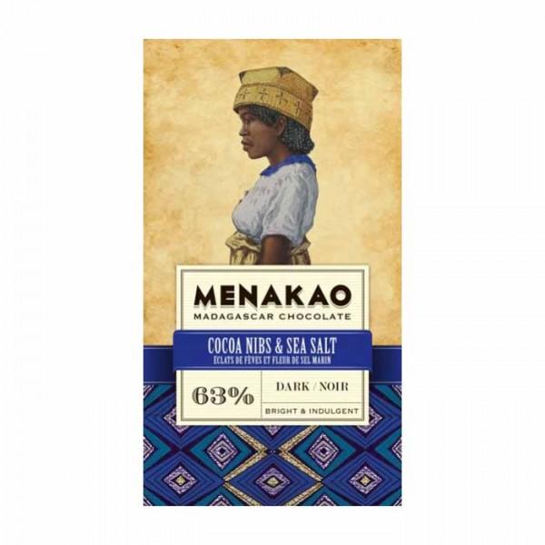 Menakao Zartbitterschokolade mit Kakaonibs & Salz