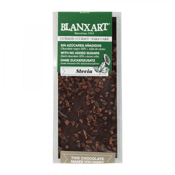 Blanxart | zuckerfreie Schokolade | Kakaonibs und Stevia | 100g