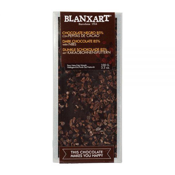 Blanxart | dunkle Schokolade mit Kakaobohnensplittern | 100g