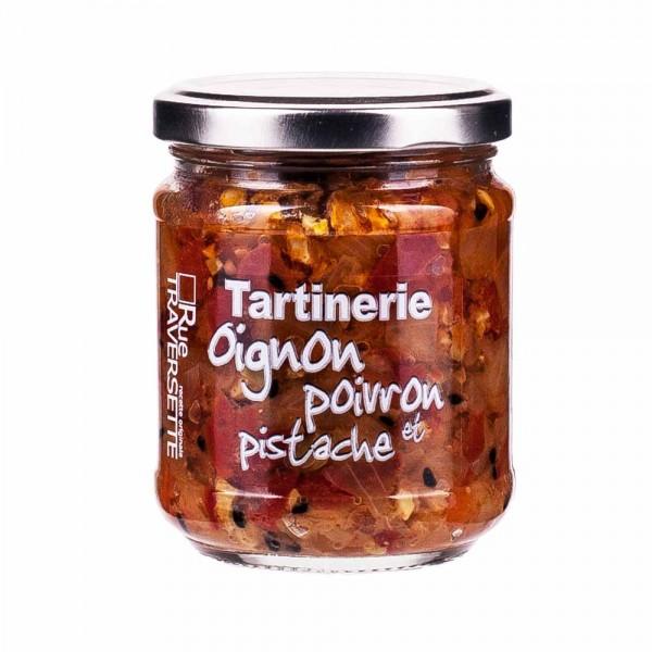 Rue Traversette Tartinerie Zwiebel, mit Paprika und Pistazie