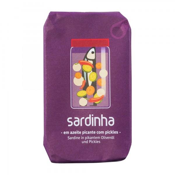A Banca da Sardinha | Sardinen in würzigem Olivenöl mit Gewürzgurken | 85g