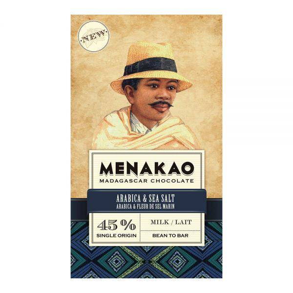 Menakao | Milchschokolade Arabica Kaffee Meersalz | 75g