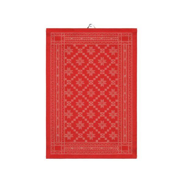 Ekelund   Attebladrose Geschirrtuch rot   50x70cm