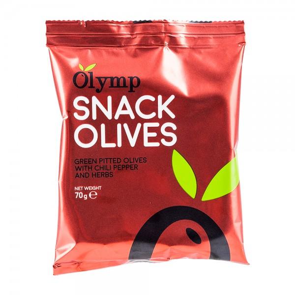 Snack Olives | grüne Oliven | Chili & Kräuter