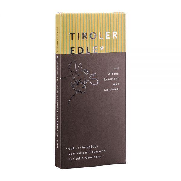 Tiroler Edle | Edelbitterschokolade mit Alpenkräutern und Karamell