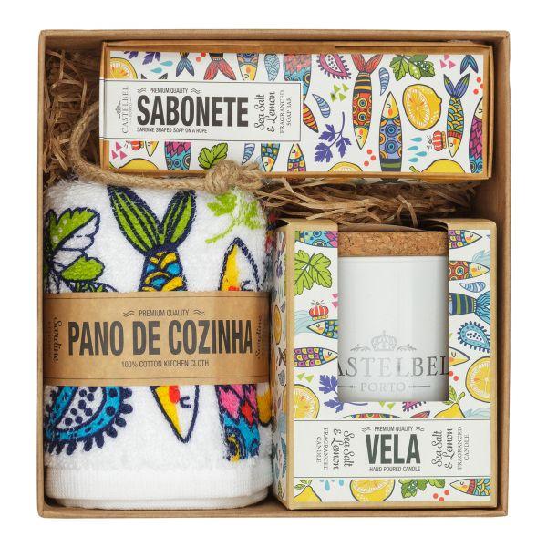 Castelbel | Sardine Geschenkset mit Seife, Duftkerze, Küchentuch