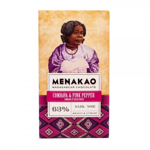 Menakao Zartbitterschokolade Combava & Pink Pepper