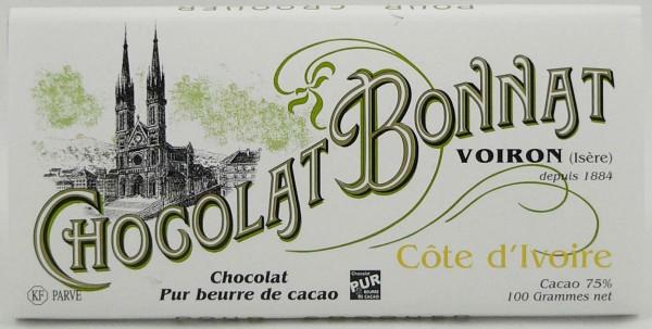 Bonnat Schokolade ohne Nuss Spuren   Cote d Ivoire 75%