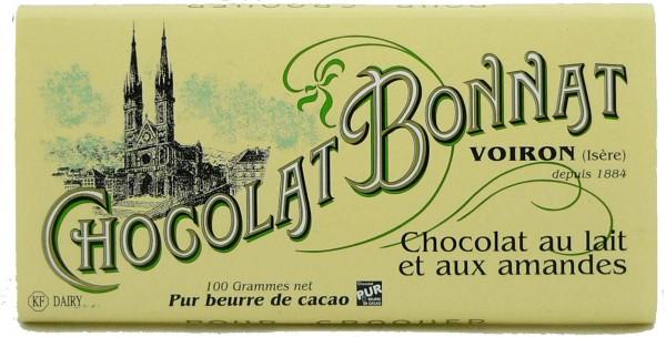 Bonnat Schokolade | Au Lait et aux Amandes 55% | Milchschokolade mit Mandeln