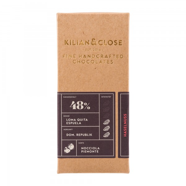 Kilian und Close | Haselnuss Schokolade 48% | 80g [BIO]