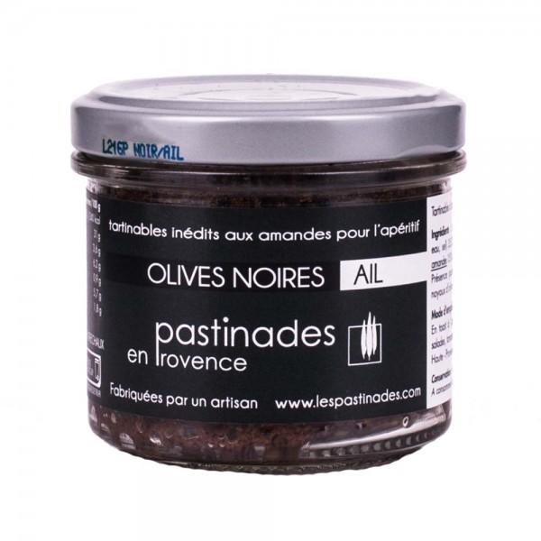 Pastinades schwarze Oliven mit Knoblauch Aperitif Creme